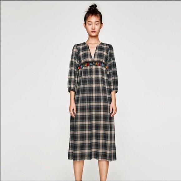 789e131a Zara Dresses | Green White Black Plaid Tassel Midi Dress | Poshmark